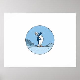 Emperor Penguin Shovel Antartica Circle Mono Line Poster