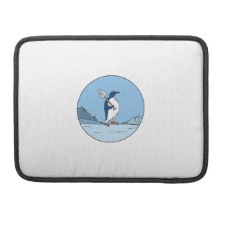 Emperor Penguin Shovel Antartica Circle Mono Line Sleeve For MacBook Pro