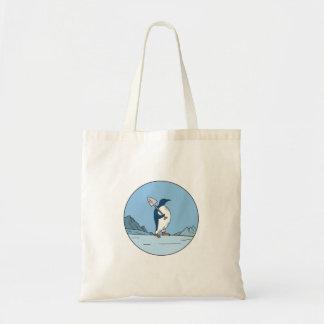 Emperor Penguin Shovel Antartica Circle Mono Line Tote Bag