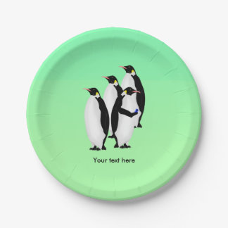 Emperor Penguin Using A Mobile Device Phone 7 Inch Paper Plate