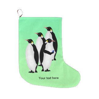 Emperor Penguin Using A Mobile Device Phone Large Christmas Stocking
