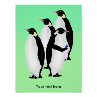 Emperor Penguin Using A Mobile Device Phone Poster