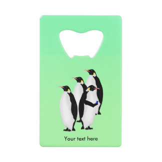 Emperor Penguin Using A Mobile Device Phone Wallet Bottle Opener