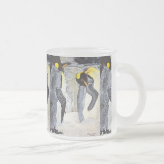 Emperor Penguins on Ice Frosted Glass Coffee Mug