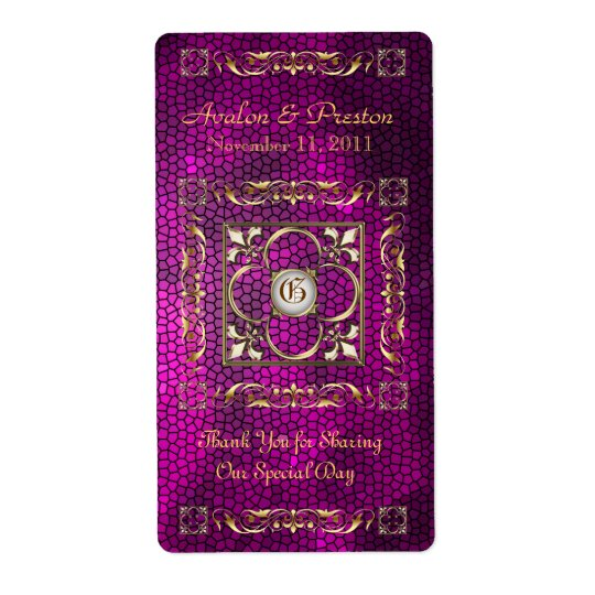 Emperor Pink Stained Glass Wine Wedding Label