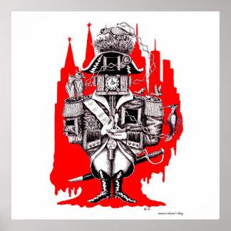 Empire clock ink pen surreal drawing art poster