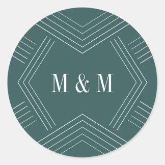 Empire | Jasper Wedding Monogram Round Sticker