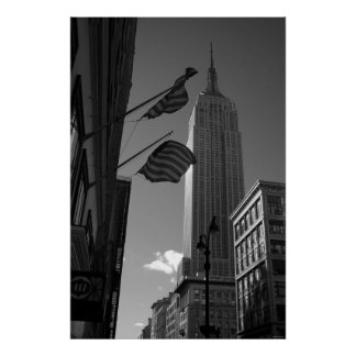 Empire State Bldg with flags Poster