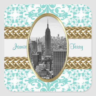 Empire State Building 01 Lt Blue Damask Gold Chain Square Sticker