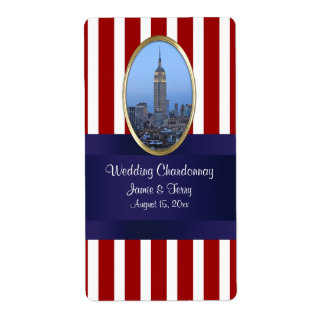 Empire State Building 02 Red White 111 Wine Label Shipping Label