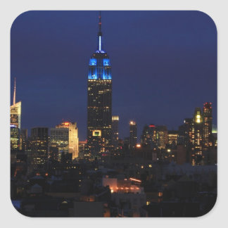 Empire State Building all in Blue, NYC Skyline Square Sticker