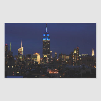 Empire State Building all in Blue, NYC Skyline Rectangle Sticker