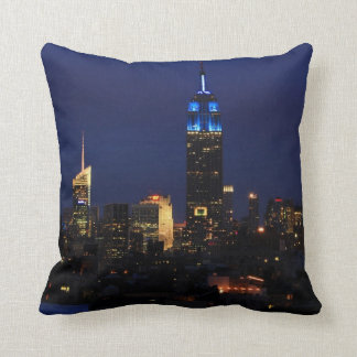 Empire State Building all in Blue, NYC Skyline Throw Pillow