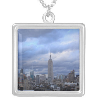 Empire State Building Dramatic Clouds Silver Plated Necklace