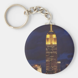 Empire State Building in Yellow, Twilight Sky 01 Basic Round Button Keychain