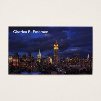 Empire State Building in Yellow, Twilight Sky 02 Business Card