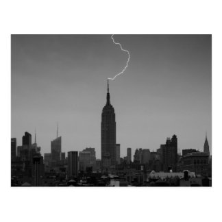 Empire State Building Lightning Strike BW - A1 Postcard