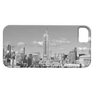 Empire State Building NYC Skyline Puffy Clouds BW iPhone 5 Case