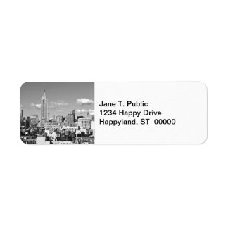 Empire State Building NYC Skyline Puffy Clouds BW Return Address Label