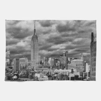 Empire State Building, Stormy NYC skyline, B&W Kitchen Towel