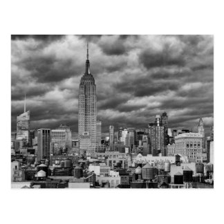 Empire State Building, Stormy NYC skyline, B&W Postcard