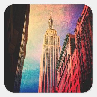 Empire State Building - surréaliste - New York Sticker Carré