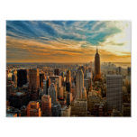 Empire State Sunset in New York City Poster