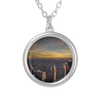 empire state sunset silver plated necklace