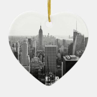 Empire States Building Manhattan Ceramic Heart Ornament