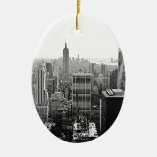 Empire States Building Manhattan Ceramic Oval Ornament