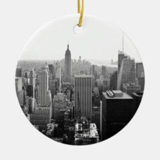 Empire States Building Manhattan Round Ceramic Ornament