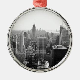 Empire States Building Manhattan Silver-Colored Round Ornament