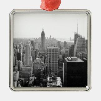 Empire States Building Manhattan Silver-Colored Square Ornament