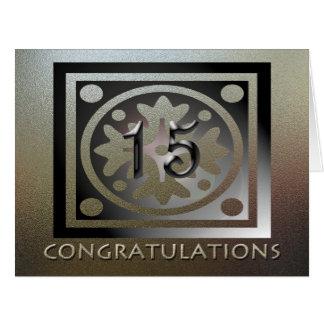 Employee 15th Anniversary Elegant Golden Card