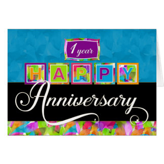 Employee 1st  Anniversary - Colorful Card