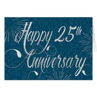 Employee 25th Anniversary - Swirly Text - Blue Card