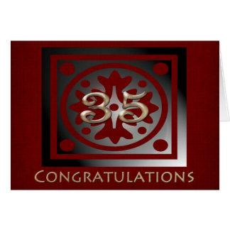Employee 35 Year Anniversary Elegant Golden Red Card