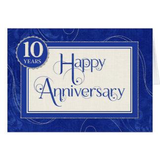 Employee Anniversary 10 Years - Text Swirls Blue Card