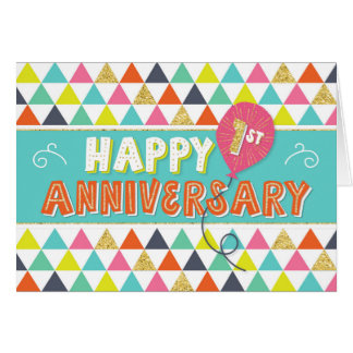 Employee Anniversary 1 Year - Colourful Pattern Card
