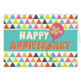 Employee Anniversary 30 Years - Colorful Pattern Card