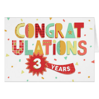 Employee Anniversary 3 Years Fun Congratulations Card