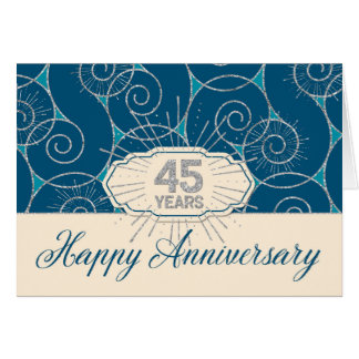 Employee Anniversary 45 Years - Blue Swirls Card