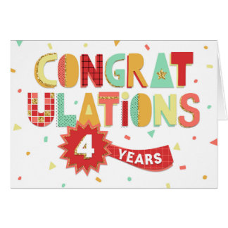 Employee Anniversary 4 Years Fun Congratulations Card