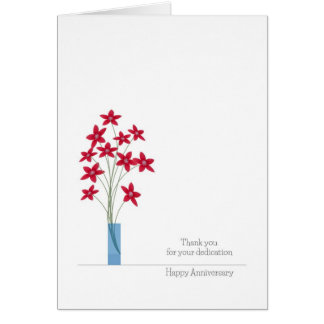 Employee Anniversary Cards, Cute Red Flowers Card