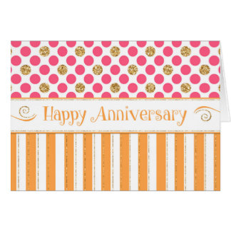 Employee Anniversary - Orange Pink Card