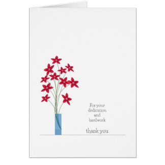 Employee Appreciation Thank You Card Red Flowers