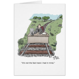 Employee behind desk on train track card