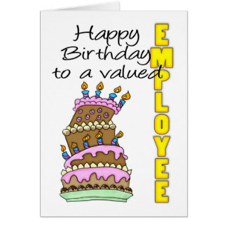 Employee Birthday Card - Birthday Cake Valued Empl