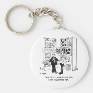 Employee Cartoon 4632 Basic Round Button Keychain