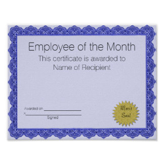 Employee of the Month Certificate Poster